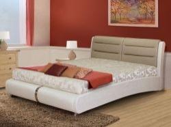 Кровать мягкая в экокоже S038 (VERA Lily- White & PU Shaded Porch)